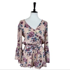American Eagle • NEW Pink Blue Floral Romper • XS